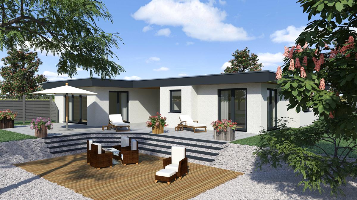 Flachdach fd 170 fuchs baugesellschaft mbh for Flachdach bungalow modern