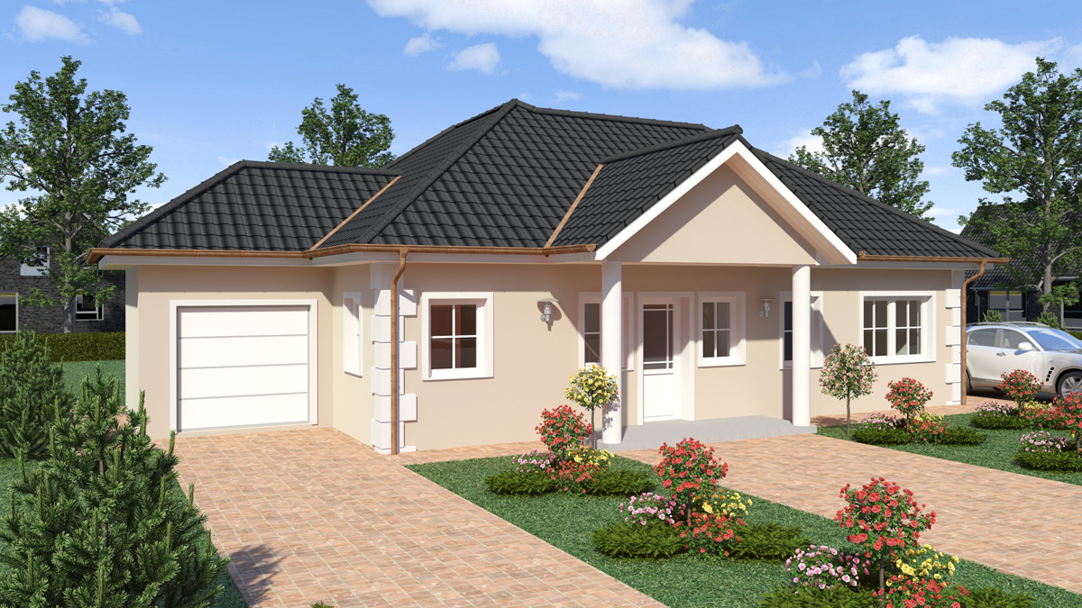 Walmdach wd 150 fuchs bau gesellschaft mbh for Fassadengestaltung beispiele bungalow