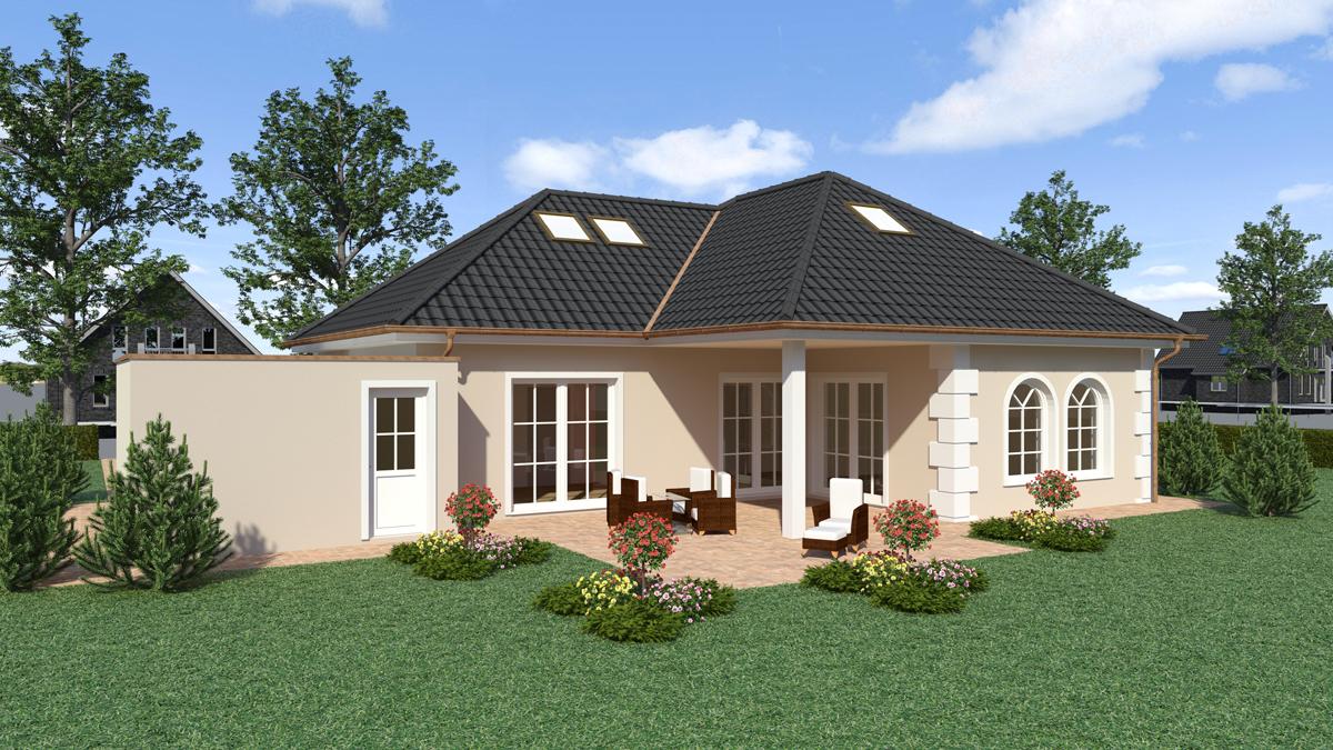 Fassadengestaltung modern bungalow  Walmdach WD 150 - Fuchs Baugesellschaft mbH